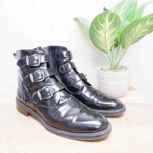 PERTINI BLACK PATENT LEATHER BUCKLE BOOTS SIZE 9.5
